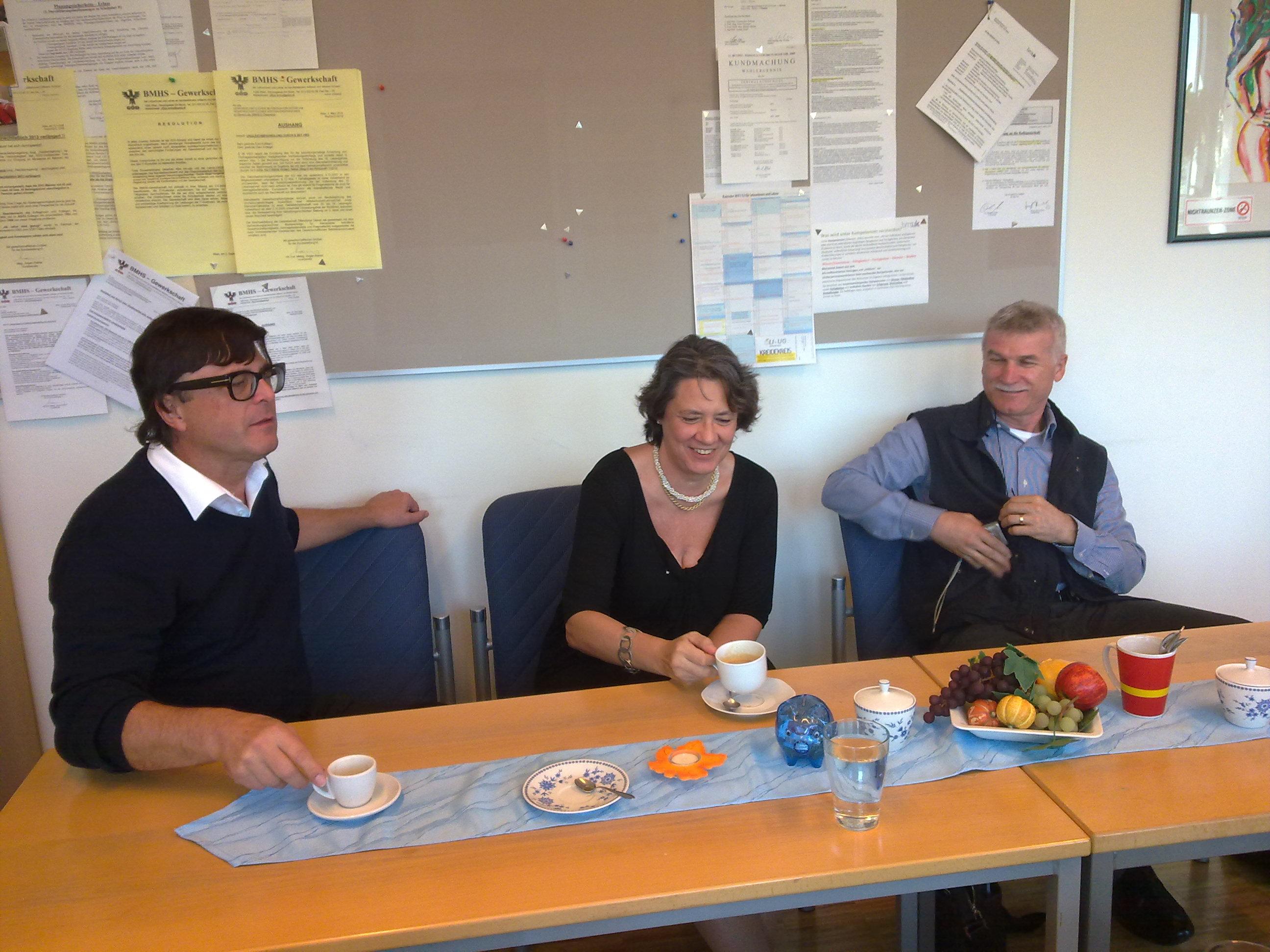 Il direttore Winkler, il dirigente scolastico prof.ssa Pertoldi e il prof. Del Zotto